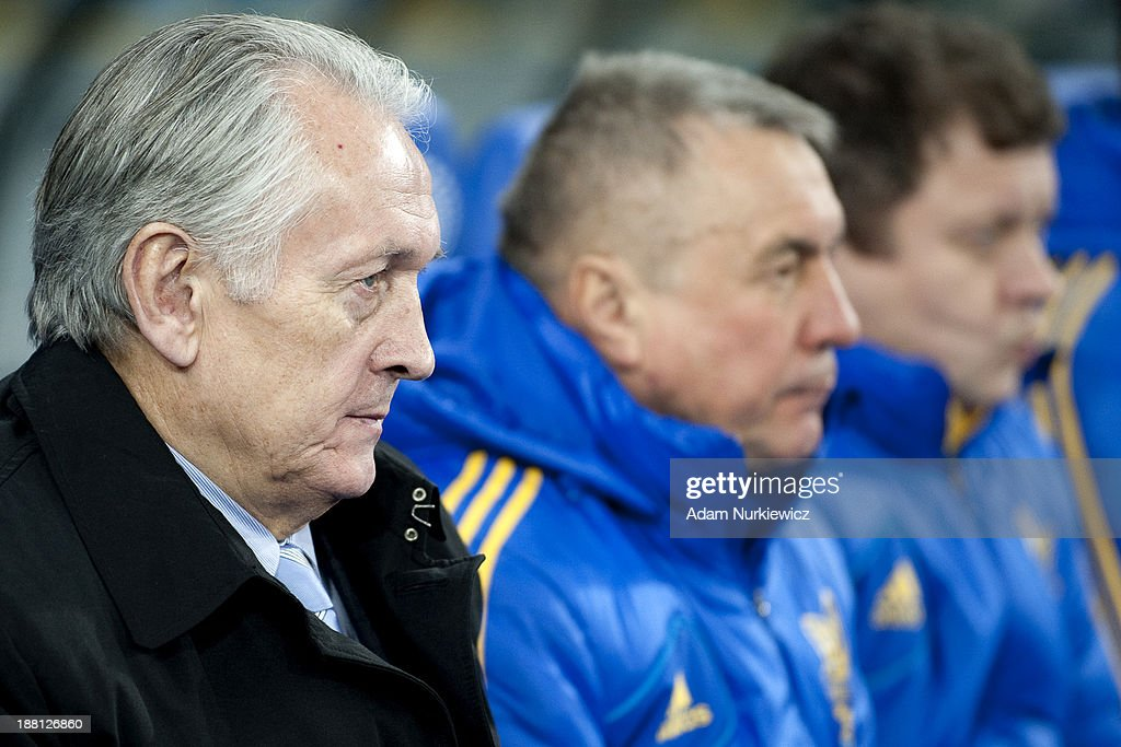 Ukraine coach Mikhail Fomenko watches during the FIFA 2014 World Cup Qualifier Play-off First Leg soccer match between Ukraine and France at the Olympic Stadium on November 15, 2013 in Kiev, Ukraine.