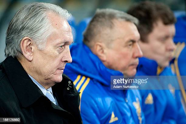 Ukraine coach Mikhail Fomenko watches during the FIFA 2014 World Cup Qualifier Playoff First Leg soccer match between Ukraine and France at the...