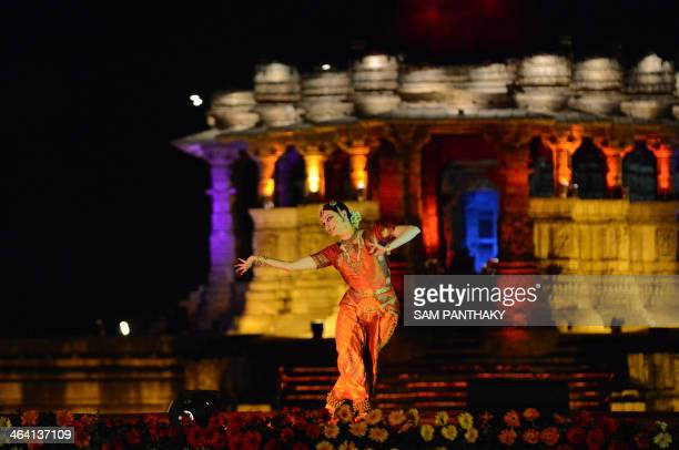 Ukraine dancer Ganna Smirnova performs the Bharat Natyam in front of the 1000 year old Surya Mandir or Sun Temple on the first day of a two day...