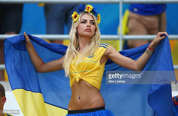 Ukraine fan enjoys the atmosphere prior to the UEFA EURO 2016 Group C match between Ukraine and Poland at Stade Velodrome on June 21 2016 in...