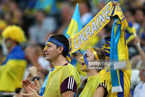 Ukraine fans enjoy the pre match atmopshere during the UEFA EURO 2012 group D match between England and Ukraine at Donbass Arena on June 19 2012 in...