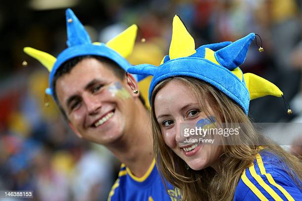 Ukraine fans soak up the atmosphere ahead of the UEFA EURO 2012 group D match between Ukraine and France at Donbass Arena on June 15 2012 in Donetsk...