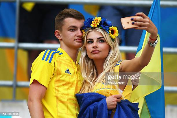 Ukraine fans take a selfie during the UEFA EURO 2016 Group C match between Ukraine and Poland at Stade Velodrome on June 21 2016 in Marseille France