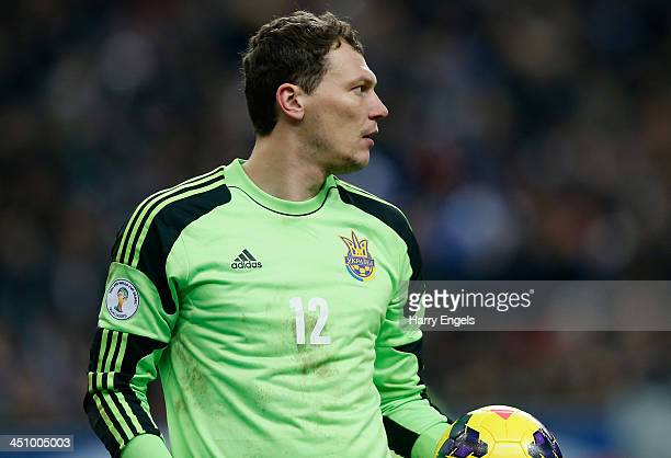 Ukraine goalkeeper Andriy Pyatov in action during the FIFA 2014 World Cup Qualifier 2nd Leg Playoff between France and Ukraine at the Stade de France...