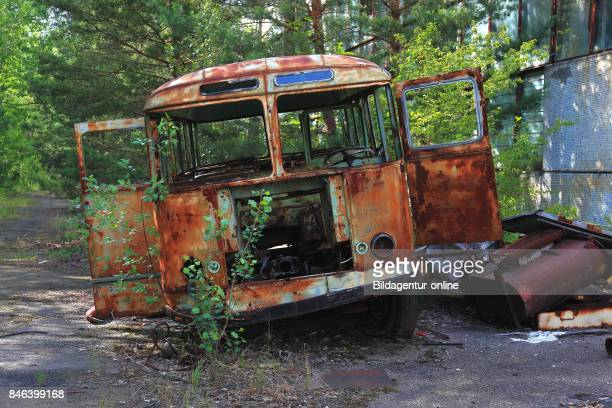 Ukraine In the Restricted and Uninhabitable 30 Kilometer Zone Around the Chernobyl Power Plant and the Pripyat Labor Camp Scrap Car