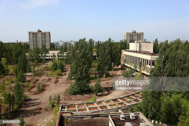 Ukraine In the Restricted and Uninhabitable 30 Kilometer Zone Around the Chernobyl Power Plant and the Pripyat Labor Camp Buildings In the City...