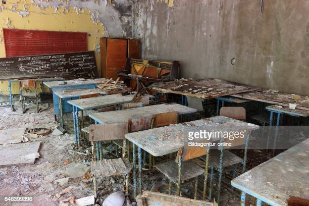 Ukraine In the Restricted and Uninhabitable 30 Kilometer Zone Around the Chernobyl Power Plant and the Pripyat Labor Camp Classroom