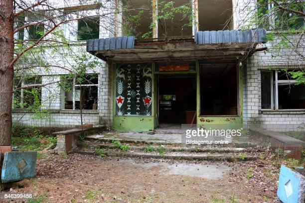 Ukraine In the Restricted and Uninhabitable 30 Kilometer Zone Around the Chernobyl Power Plant and the Pripyat Labor Camp Residential Home Entrance