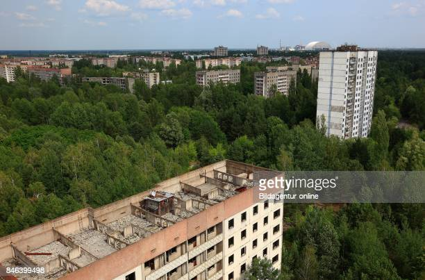 Ukraine In the Restricted and Uninhabitable 30 Kilometer Zone Around the Chernobyl Power Plant and the Pripyat Labor Camp View Over the Abandoned...