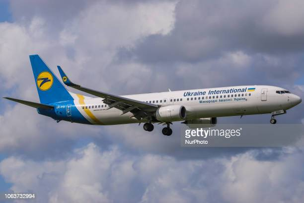 Ukraine International Airlines Boeing 737900ER landing at Amsterdam Schiphol International Airport in The Netherlands The aircraft registration is...