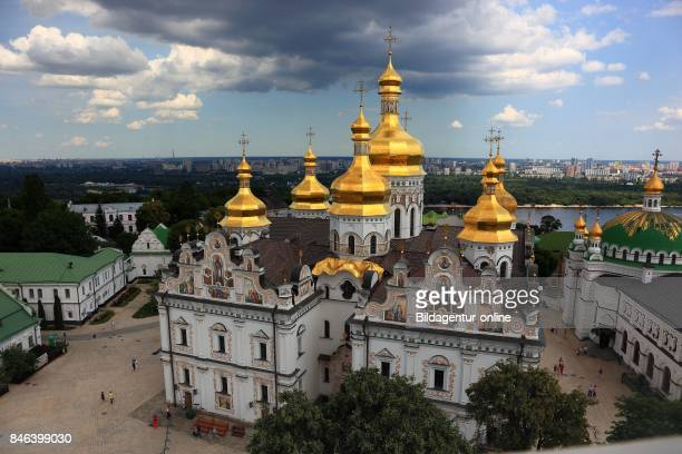 Ukraine Kiev City View From The Bell Tower To The Uspensky Cathedral and The Monastery Complex of The Kiev Cave Monastery Holy Mary's Ascension...