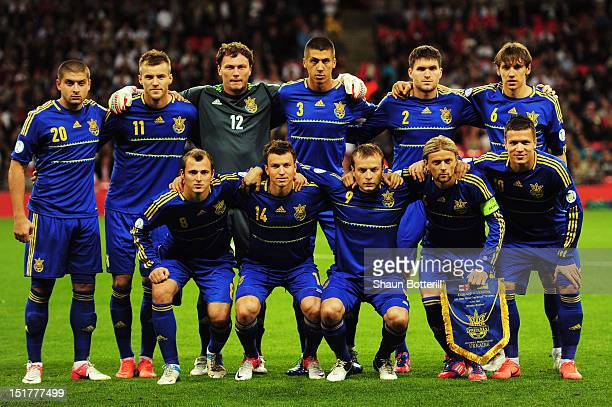 Ukraine line up prior to the FIFA 2014 World Cup Group H qualifying match between England and Ukraine at Wembley Stadium on September 11 2012 in...