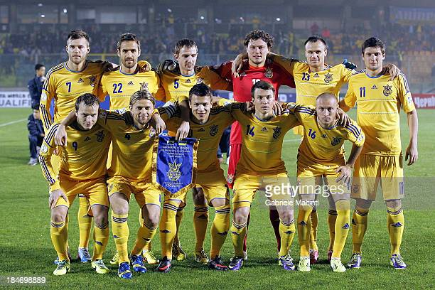 Ukraine line up prior to the FIFA 2014 World Cup Qualifier Group H match between San Marino and Ukraine at Serravalle Stadium on October 15 2013 in...