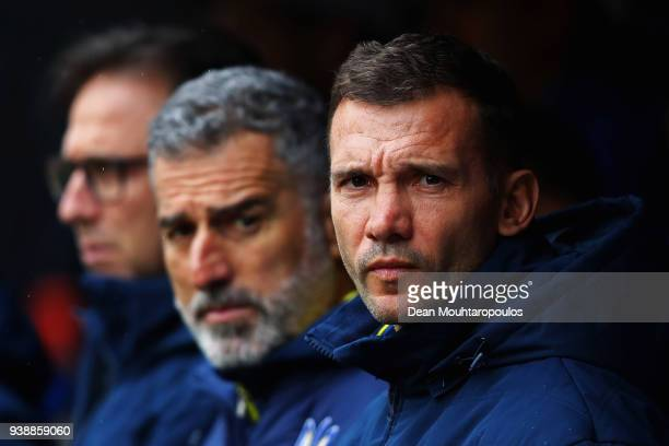 Ukraine Manager / Head Coach Andriy Shevchenko and his assistant Mauro Tassotti look on prior to the International friendly match between Japan and...