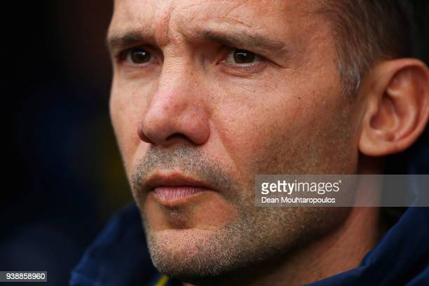 Ukraine Manager / Head Coach Andriy Shevchenko looks on prior to the International friendly match between Japan and Ukraine held at Stade Maurice...