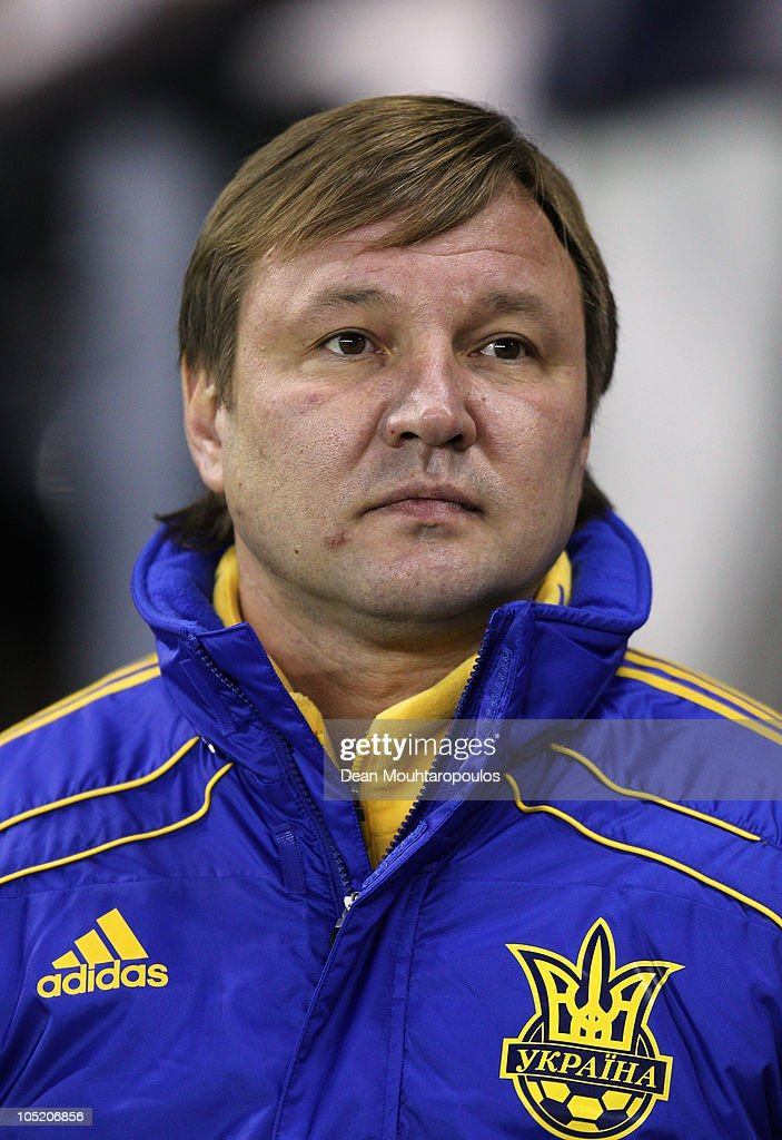 Ukraine Manager Yuriy Kalitvintsev looks on during the International Friendly match between Brazil and Ukraine at Pride Park Stadium on October 11, 2010 in Derby, England.