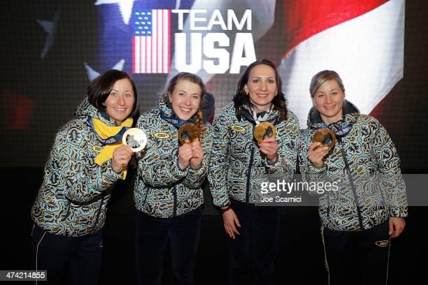 Ukraine Olympians Vita Semerenko Juliya Dzhyma Olena Pidhrushna and Valj Semerenko visit the USA House in the Olympic Village on February 22 2014 in...