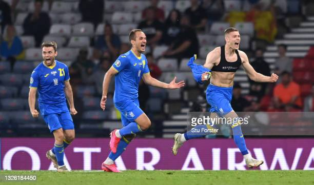 Ukraine player Artem Dovbyk celebrates after scoring the winning goal during the UEFA Euro 2020 Championship Round of 16 match between Sweden and...