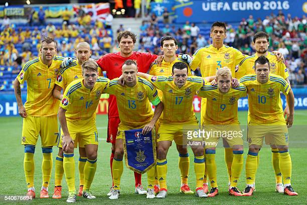 Ukraine players line up for the team photos prior to the UEFA EURO 2016 Group C match between Ukraine and Northern Ireland at Stade des Lumieres on...