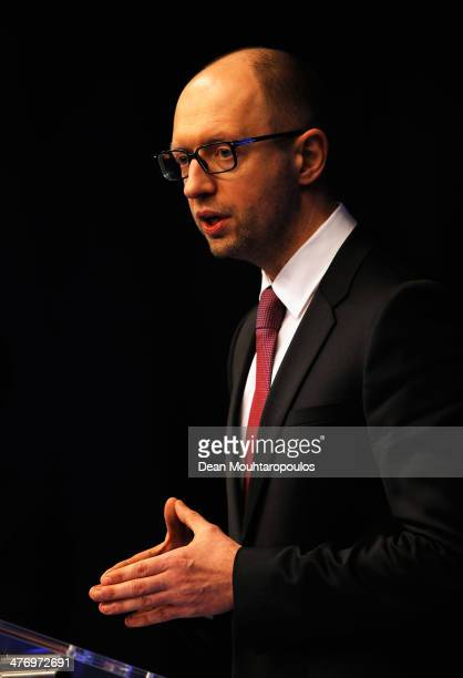 Ukraine Prime Minister, Arseniy Yatseniuk speaks to the media during a meeting to discuss the situation in Ukraine at the European Union Council...
