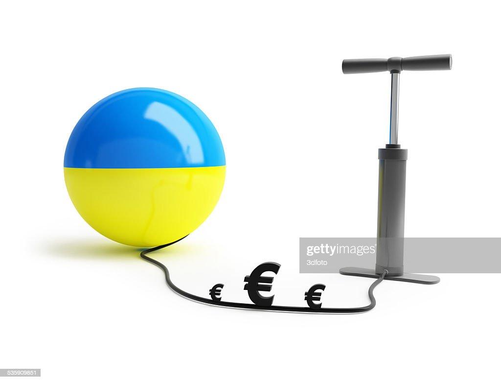Ucrania bomba de euros de dinero : Foto de stock