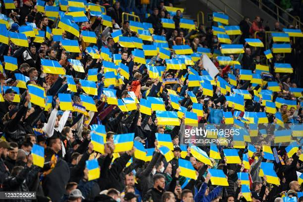 Ukraine supporters before the friendly football match Ukraine v Northern Ireland in Dnipro on June 3 in preparation for the UEFA European...