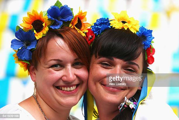 Ukraine supporters enjoy the atmosphere prior to the UEFA EURO 2016 Group C match between Ukraine and Poland at Stade Velodrome on June 21 2016 in...