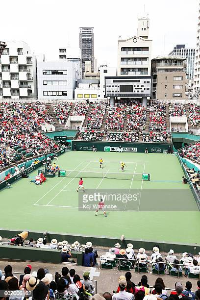 Ukraine team competes against Japan team during the Davis Cup World Group Playoff doubles match between at Utsubo Tennis Center on September 17 2016...