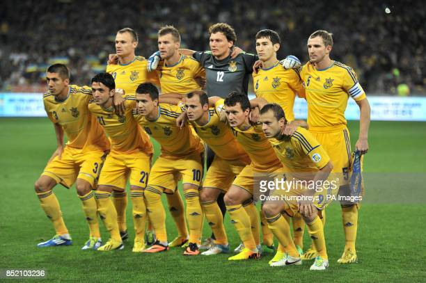 Ukraine Team Shot Vyacheslav Shevchuk Andriy Yarmolenko Goalkeeper Andriy Pyatov Taras Stepenko Olexandr Kucher Yevhen Khacheridi Edmar Aparesida...