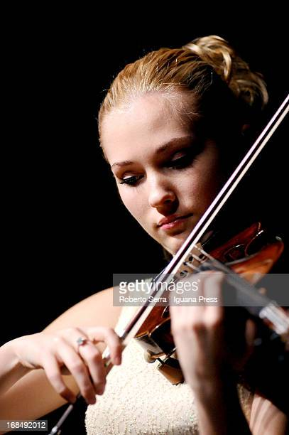 Ukraine violinist Anastasiya Petryshak performs in concert with italian pianist Jacopo Giacopuzzi for Bologna Festival at Oratorio San Filippo Neri...