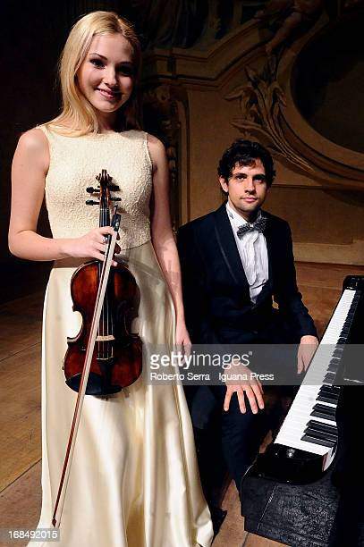 Ukraine violinist Anastasiya Petryshak poses before to perform with italian pianist Jacopo Giacopuzzi for Bologna Festival at Oratorio San Filippo...