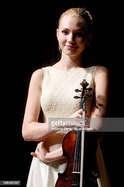 Ukraine violinist Anastasiya Petryshak poses before to performs in concert for Bologna Festival at Oratorio San Filippo Neri on May 2 2013 in Bologna...