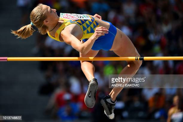 Ukraine's Alina Shukh competes in the women's High Jump Heptathlon event during the European Athletics Championships at the Olympic stadium in Berlin...