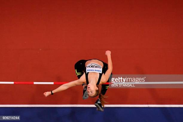 Ukraine's Alina Shukh competes in the women's high jump pentathlon event at the 2018 IAAF World Indoor Athletics Championships at the Arena in...