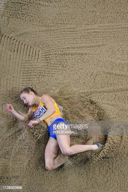 Ukraine's Alina Shukh competes in the womens long jump pentathlon event at the 2019 European Athletics Indoor Championships in Glasgow on March 1 2019