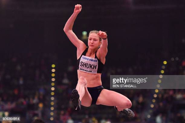 Ukraine's Alina Shukh competes in the women's long jump pentathlon event at the 2018 IAAF World Indoor Athletics Championships at the Arena in...