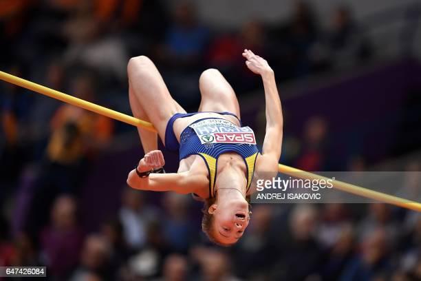 Ukraine's Alina Shukh competes in the women's pentathlon high jump at the 2017 European Athletics Indoor Championships in Belgrade on March 3 2017 /...