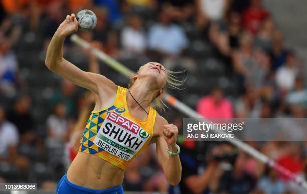 Ukraine's Alina Shukh competes in the women's Shot Put Heptathlon event during the European Athletics Championships at the Olympic stadium in Berlin...