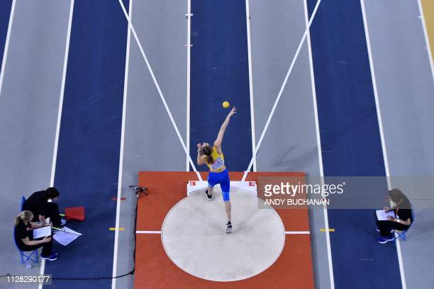 Ukraine's Alina Shukh competes in the womens shot put pentathlon event at the 2019 European Athletics Indoor Championships in Glasgow on March 1 2019