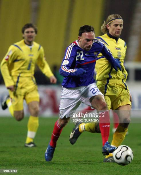 Ukraine's Anatoliy Tymoshchuk fights for a ball with France's Franck Ribery during their Euro 2008 qualifying football match Ukraine vs France France...