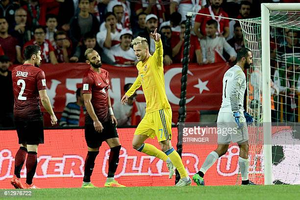 Ukraine's Andriy Yarmolenko celebrates after scoring a goal during the World Cup 2018 football qualification match between Turkey and Ukraine on...