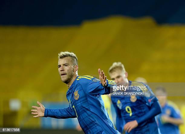 Ukraine's Andriy Yarmolenko celebrates after scoring during the 2018 World Cup qualifier football match of Ukraine vs Kosovo in Krakow Poland on...