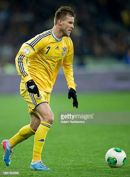 Ukraine's Andriy Yarmolenko controls the ball during the FIFA 2014 World Cup Qualifier Playoff First Leg soccer match between Ukraine and France at...