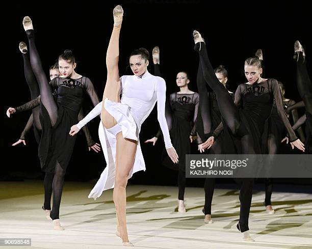 Ukraine's Anna Bessonova and other rhythmic gymnasts perform in the Gala at the Rhythmic Gymnastics World Championships in Ise in Japan's Mie...