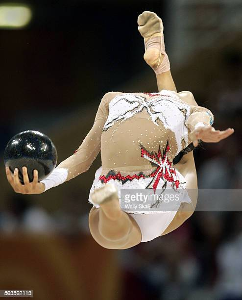 Ukraine's Anna Bessonova competes in the rhythmic gymnastics individual all–around final at the 2004 Athens Olympics in greece Sunday