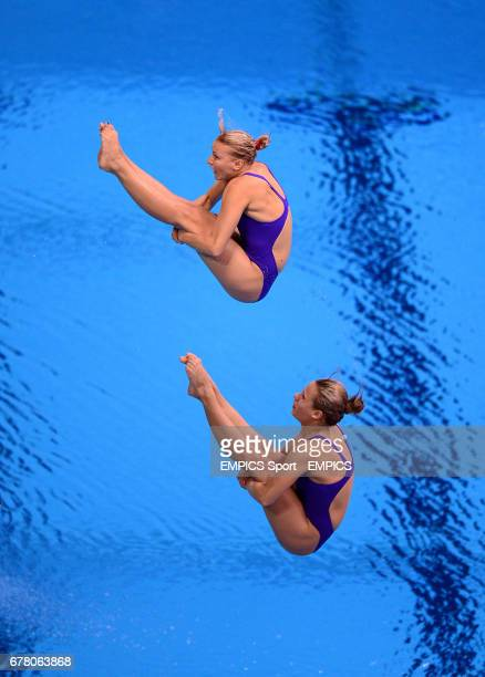 Ukraine's Anna Pysmenska and Olena Fedorova compete in the Women's Synchronised 3m Springboard at the Aquatics Centre London on the second day of the...