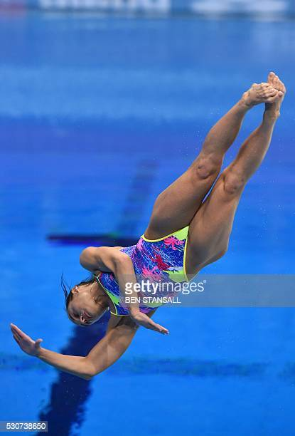 Ukraine's Anna Pysmenska competes in the final of the 1m women's Springboard diving event on Day 3 of the European aquatics championships in London...