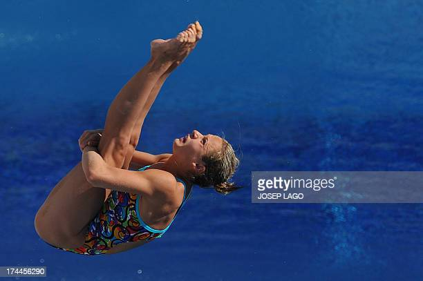 Ukraine's Anna Pysmenska competes in the women's 3metre springboard preliminary diving event in the FINA World Championships at the Piscina Municipal...