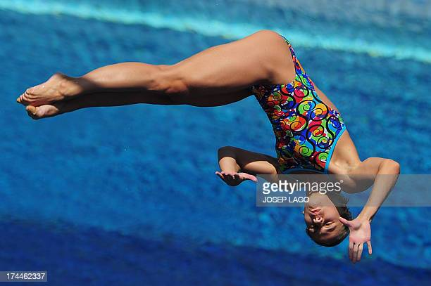 Ukraine's Anna Pysmenska competes in the women's 3metre springboard semifinal diving event in the FINA World Championships at the Piscina Municipal...