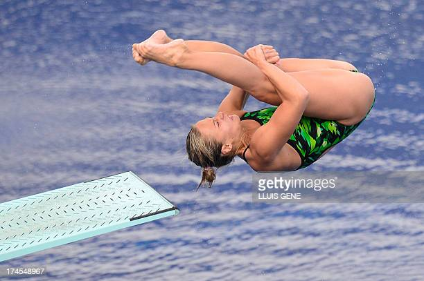 Ukraine's Anna Pysmenska competes in the women's 3metre springboard final diving event in the FINA World Championships at the Piscina Municipal de...